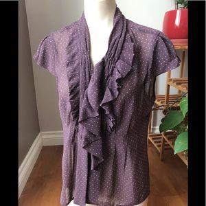 🐙 2/25  RW&CO  Sheer blouse ruffles and polka dot